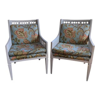 Vintage Hollywood Regency Style Painted Caned and Upholstered Armchairs - a Pair For Sale