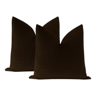 "22"" Chocolate Velvet Pillows - a Pair For Sale"