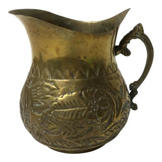 Antique Brass Repouseé Pitcher For Sale