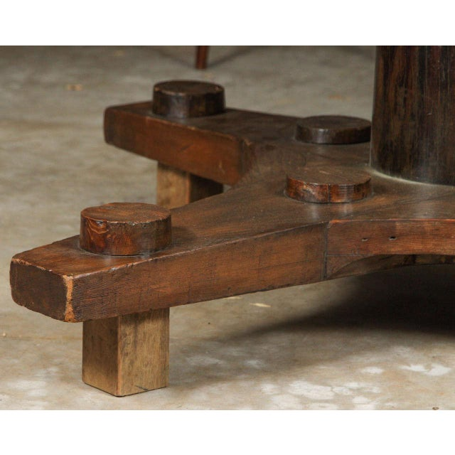 Round Glass Top Coffee Table Made From English Ship Port Part With Metal Base For Sale - Image 4 of 10