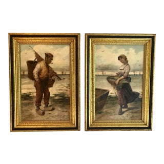 """19th Century Oil Paintings """"Fisherman and His Daughter"""" by F. R. Donat - A Pair"""