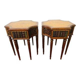 Vintage Regency Style Maitland Smith Mahogany and Leather Side Tables - a Pair For Sale
