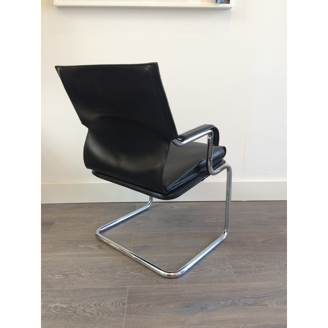 """Marcatre Black Leather & Chrome """"Uno"""" Chair For Sale - Image 5 of 10"""