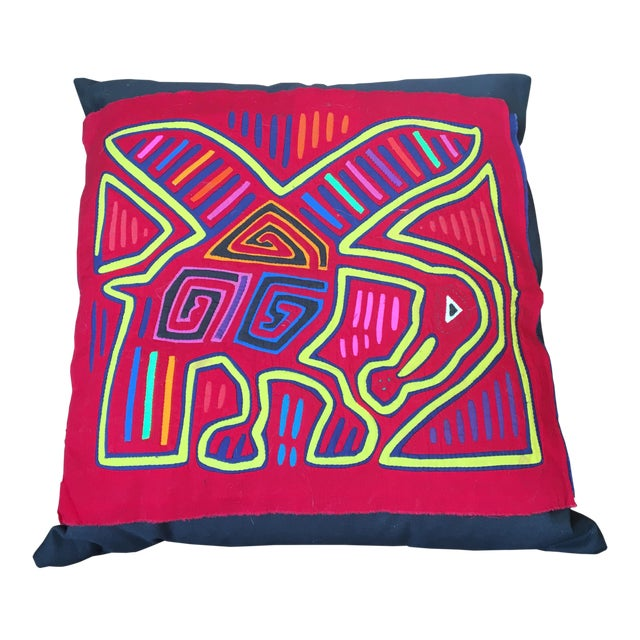 Contemporary Mola Cloth Red Pillow For Sale