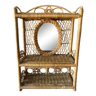 Vintage Wicker Wall Mirror Shelf For Sale