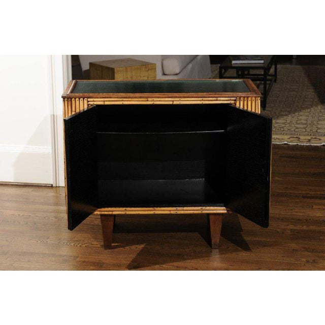 Wood Chic Restored Art Deco Commode in Bamboo and Black Lacquer, Circa 1940 For Sale - Image 7 of 12