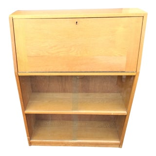 Mid Century Modern Light Yellow Secretary Bookcase For Sale
