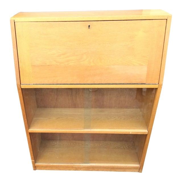 Mid Century Modern Light Yellow Secretary Bookcase For Sale