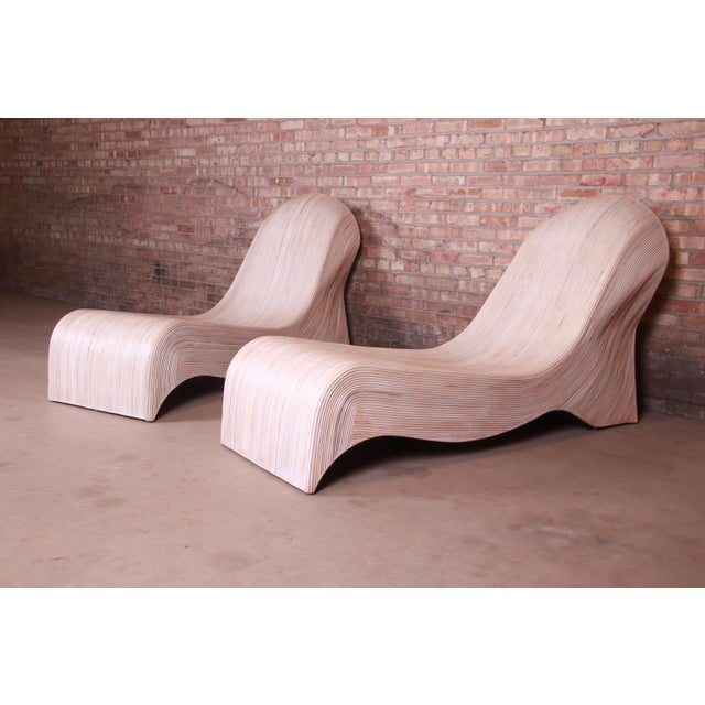 Wood Betty Cobonpue Sculptural Split Reed Rattan Chaise Lounges, Pair For Sale - Image 7 of 13