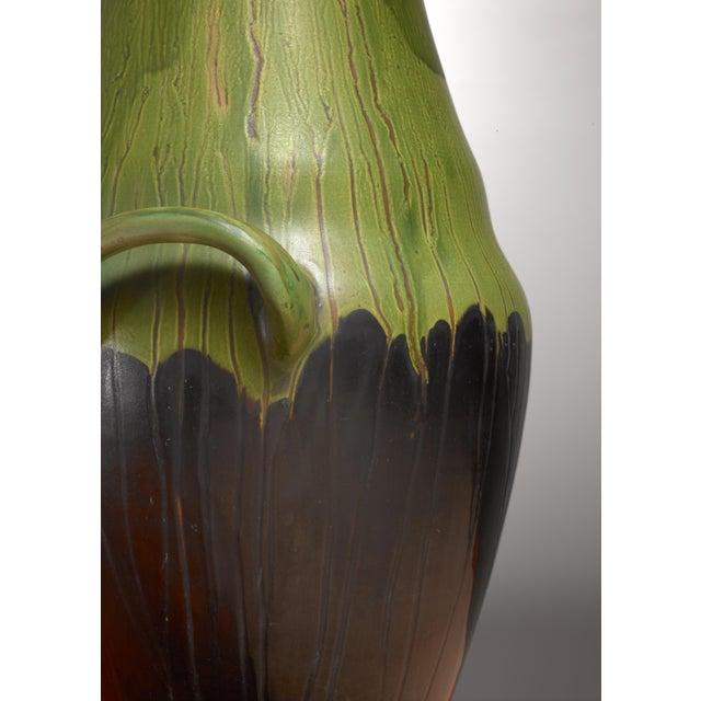 Superb Large Black And Green Ceramic Kahler Floor Vase Denmark