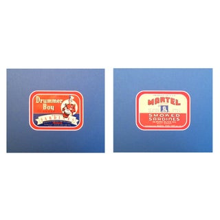 1930-40 Vintage Drummer Sardine Labels - A Pair