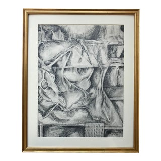 Vintage Surrealist Abstract Drawing by Gerard Haggerty For Sale
