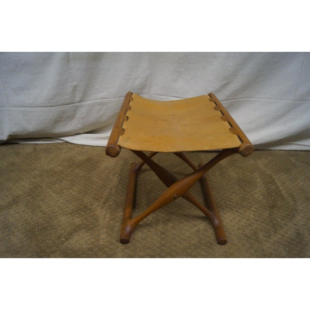 Poul Hundevad 1960s Teak & Leather X Base Stool - Image 10 of 10