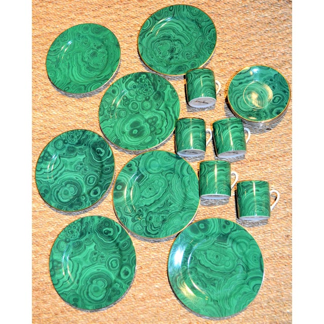 This is a set of twelve Neiman Marcus Dessert/Tapas Plates and Demitasse cups and saucers in an emerald green faux...