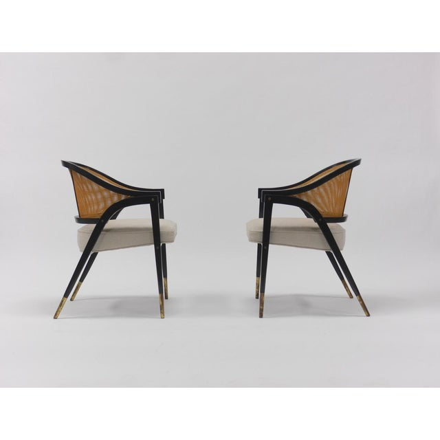 1950s Caned back occasional chairs by Edward Wormley for Dunbar For Sale - Image 5 of 11