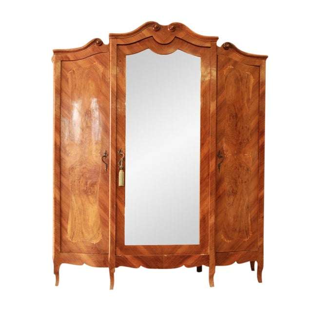 1870's Burled and Inlaid French Knockdown Wardrobe For Sale