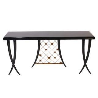 French Black Lacquered Console in Mahogany With Brass Star Gold Leaf Metal in the Style of Arbus, C. 1945 For Sale