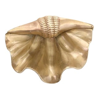 Hollywood Regency Brass Shell Ashtray Dish For Sale