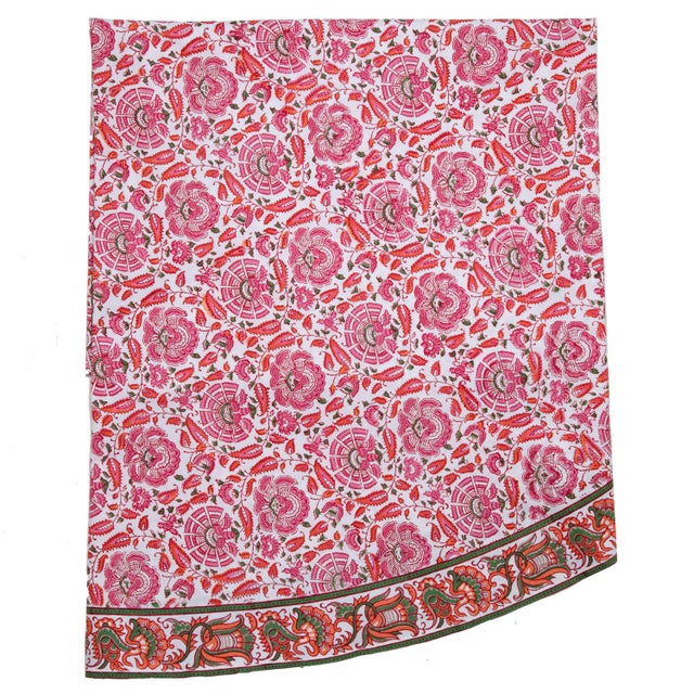 Contemporary Riyad Round Tablecloth - Pink & Orange For Sale - Image 3 of 3