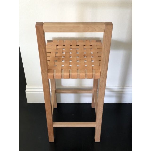 Mid-Century Modern Modern Scandinavian Modern Birch Leather Woven Counter Stool For Sale - Image 3 of 4