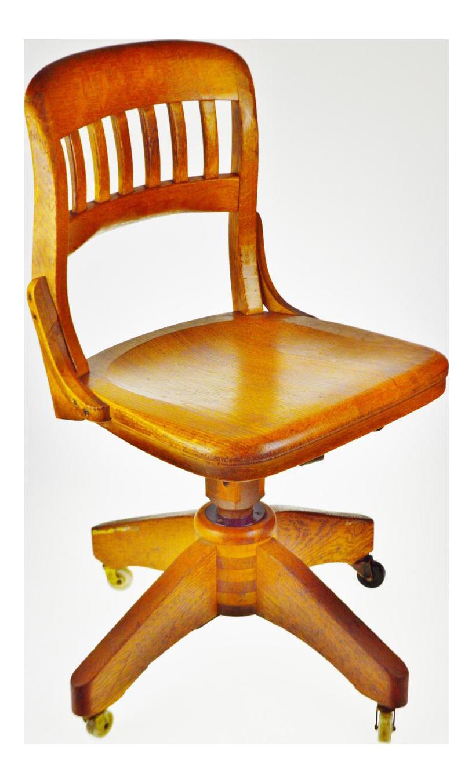 Vintage Oak Swivel Desk Chair