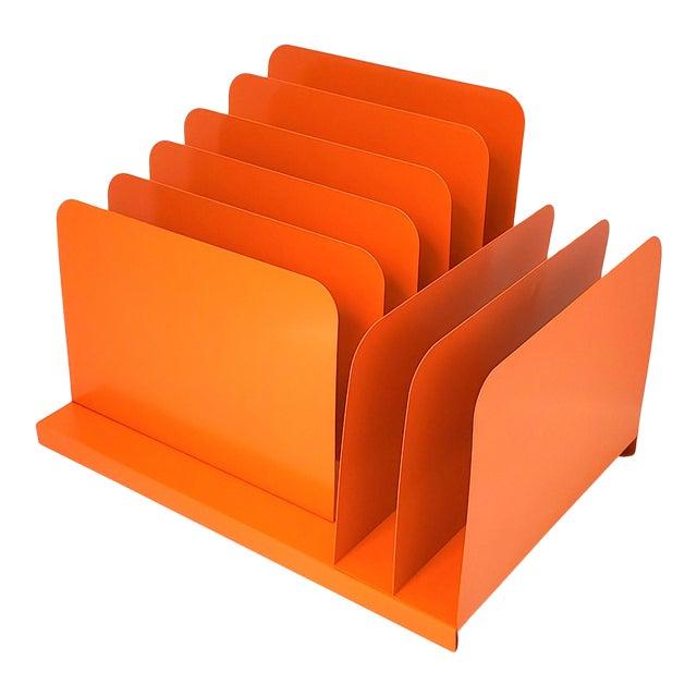 1960s Tanker Desk Record Album Office Organizer Magazine Rack Orange Mail Sorter For Sale