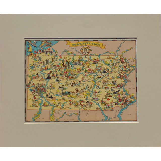 Americana Vintage Map of Pennsylvania, 1935 For Sale - Image 3 of 5