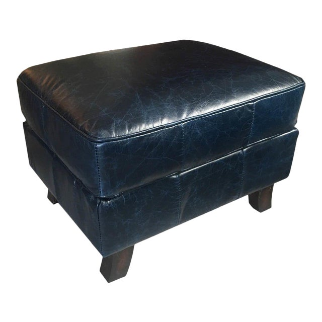 Superb Dark Blue Leather Ottoman Theyellowbook Wood Chair Design Ideas Theyellowbookinfo