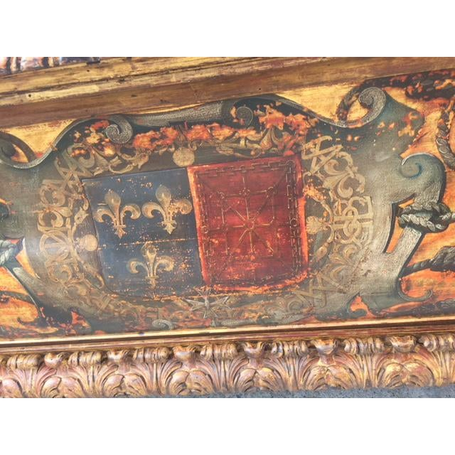 Late 19th Century 19th Century Italian Carved Giltwood & Painted Cassone For Sale - Image 5 of 13