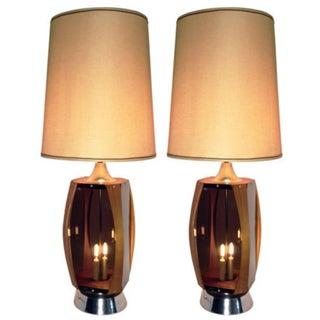 Mid-Century Teak & Smoked Acrylic Lamps - A Pair