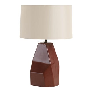 Hand Made Faceted Shan Lamp in Red Bean Lacquer by Robert Kuo, Limited Edition For Sale