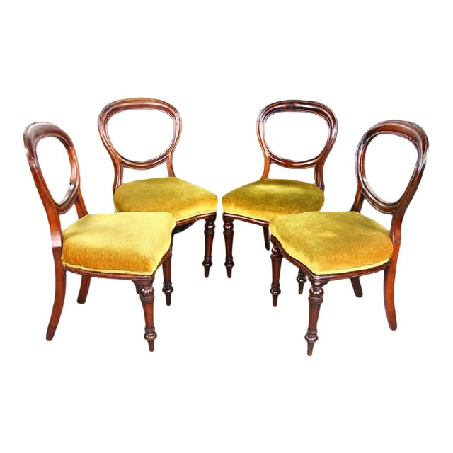 1970s Vintage Mahogany Yellow Velvet Louis XVI Victorian Side or Dining Chairs- Set of 4 For Sale