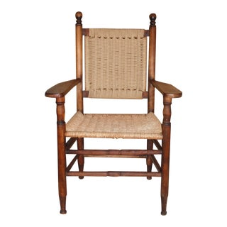 Vintage Solid Wood Rope Arm Chair Armchair For Sale
