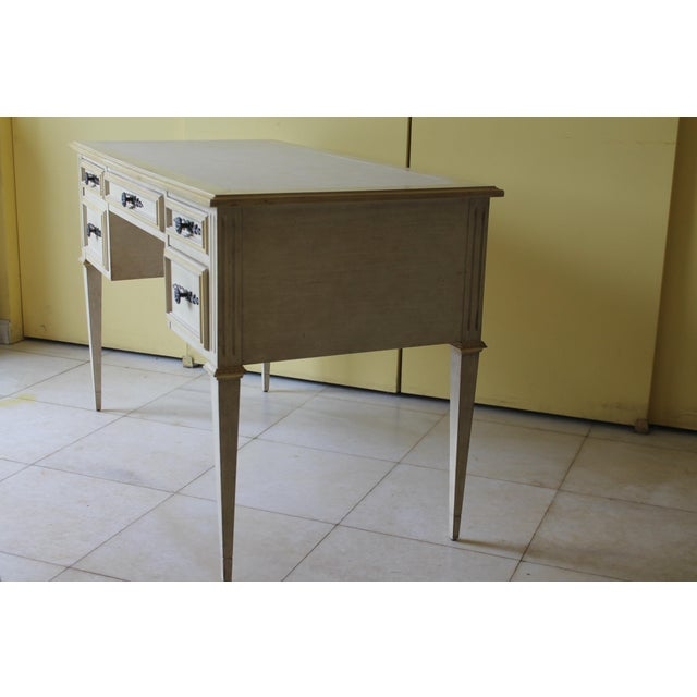White 1960s Vintage Ladies Kneehole Writing Desk For Sale - Image 8 of 13