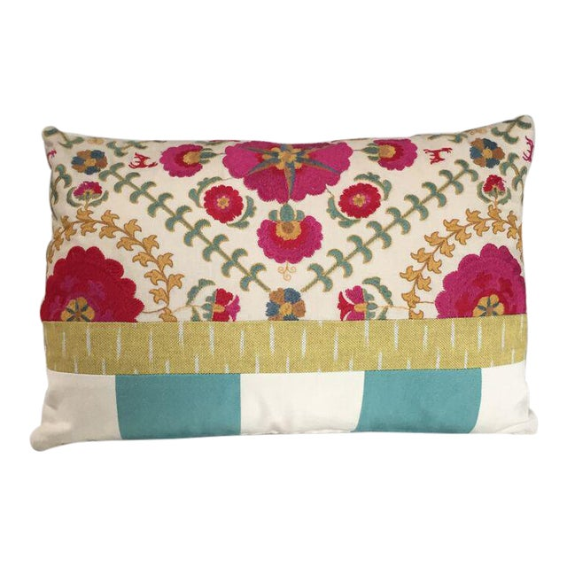 Kim Salmela Embroidered Floral Patchwork Pillow For Sale