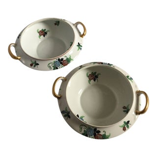 1930's French Limoges Gilded Porcelain Serving Bowls/Soup Tureens - a Pair For Sale