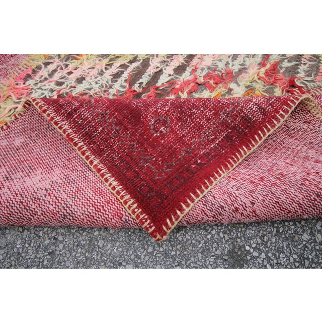 Vintage Turkish Overdyed Patchwork Oushak Distressed Rug - 6′9″ × 10′ For Sale - Image 5 of 6