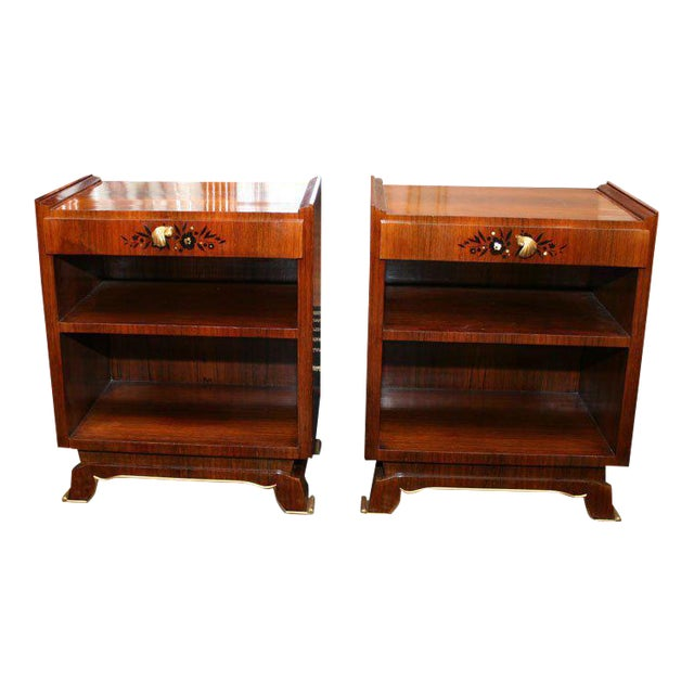 Jules Leleu Pair of French Art Deco Side Tables For Sale