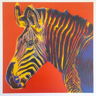 "Andy Warhol Estate Rare Vintage 1992 Endangered Species Collector's Pop Art Lithograph Print "" Grevy's Zebra "" 1983 Preview"