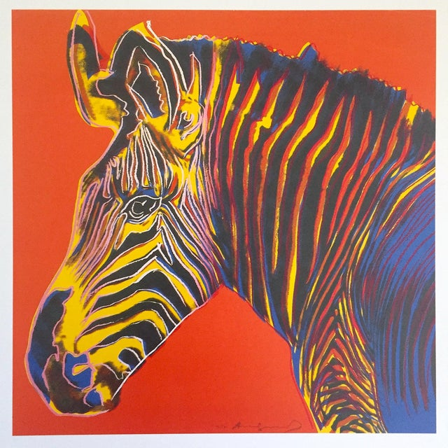 """This Andy Warhol Estate rare vintage 1992 Endangered Species collector's Pop Art offset lithograph print """" Grevy's Zebra """"..."""