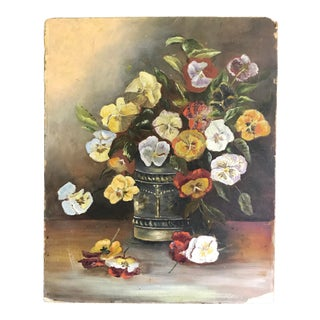 Early 20th Century Antique Pansies Still Life Painting For Sale
