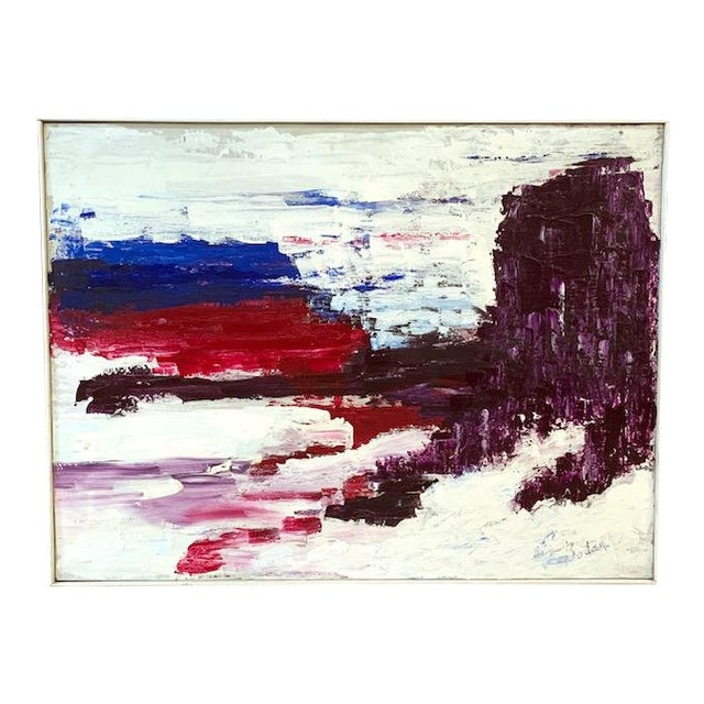 Large Mid Century Abstract Painting - Bright Landscape, Signed Boden For Sale