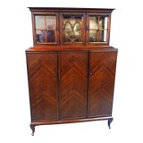 Image of Antique Mahogany Breakfront China Cabinet For Sale