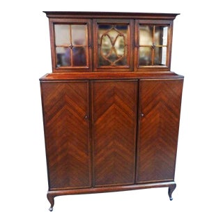 Antique Mahogany Breakfront China Cabinet For Sale