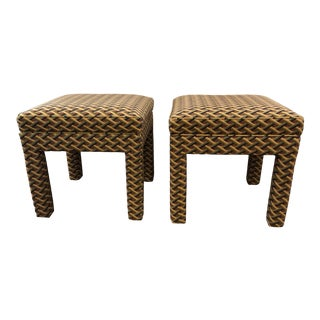 1980s Vintage Tailored Parsons Style Upholstered Ottomans Benches- A Pair For Sale