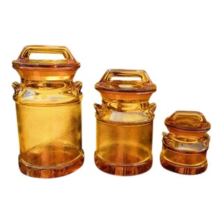 1970s Vintage l.e. Smith Glass Stippled Amber Canisters- 3-Pieces For Sale