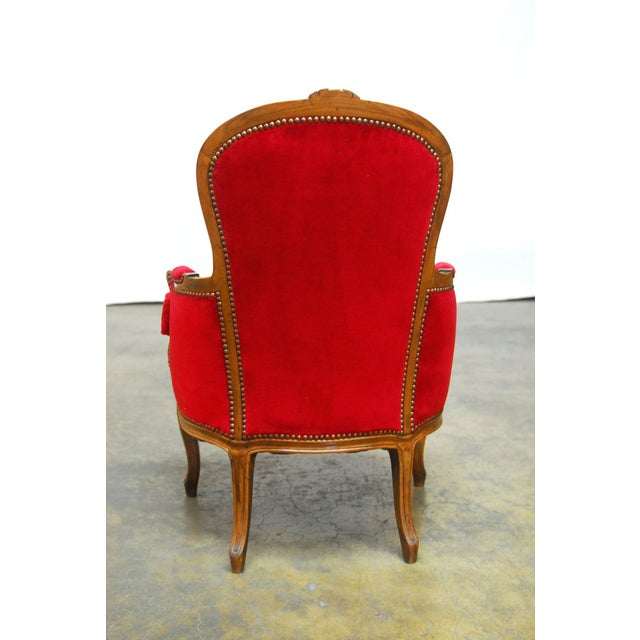 Antique French Louis XV Carved Red Velvet Bergere - Image 7 of 9