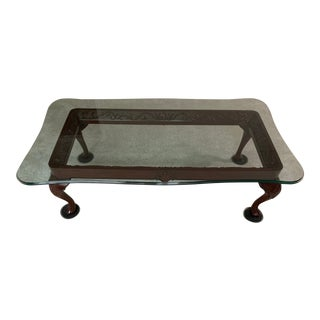 Lexington Furniture Carved Wood Coffee Table With Beveled Glass Top For Sale