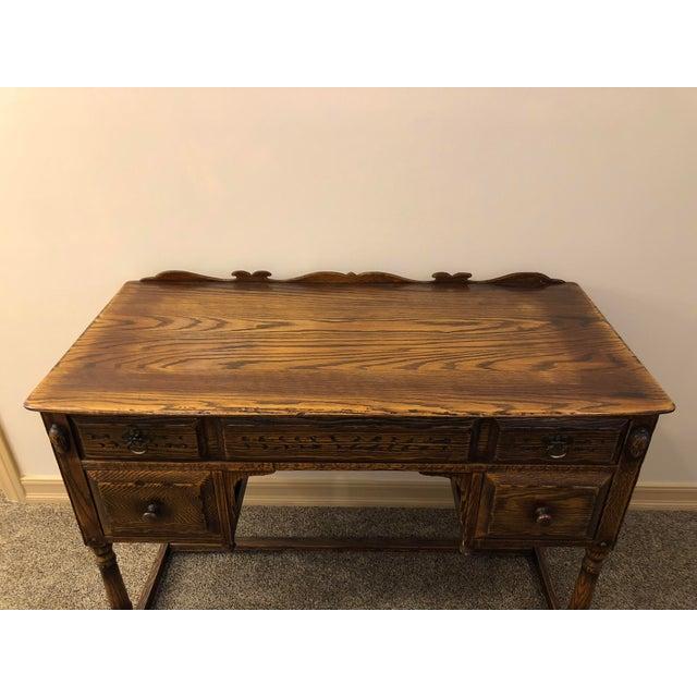 Vintage Mid Century Jamestown Lounge Co. Feudal Oak Desk Set- 3 Pieces For Sale - Image 11 of 13