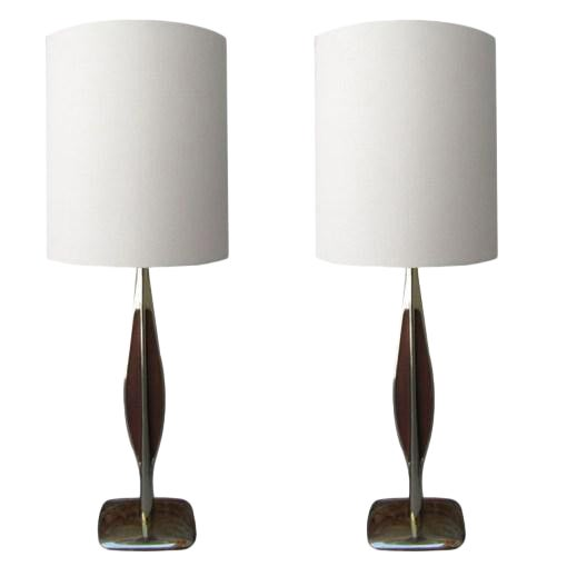 Laurel Brass & Wooden Inlay Table Lamps - A Pair For Sale